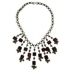Vintage Brass and Bakelite Necklace