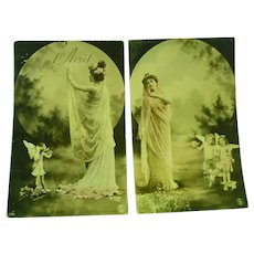 Two Vintage 1905 French Real Photo Postcards of fairies and Maidens