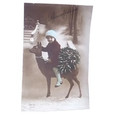 Vintage Winter Real Photo French Postcard of Child Riding a Baby Llama
