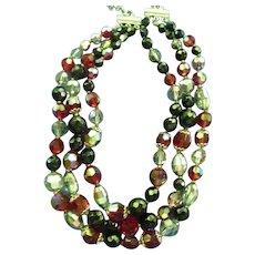Vintage Multi Strand Signed Vendome Crystal Necklace