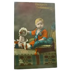 Vintage Early 1900's Real Photo French Postcard of Child and doll