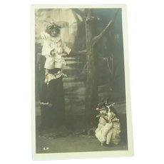 Vintage Edwardian Real Photo Postcard of Costumed Children Playing