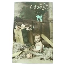 Vintage 1920 Real Photo French Postcard of Baby in the Straw
