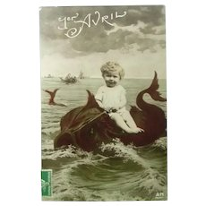 Early 1900's Real Photo French Postcard of Child Riding a Fish