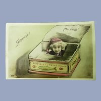 Unusual French Real Photo Postcard of Child in a sardine Can