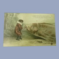 Wonderful Surreal Real Photo French April Fools Postcard of child and a large Fish