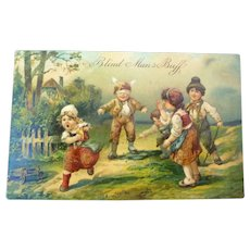 Vintage 1907 Illustrated Postcard of Children Playing Blind Man's Bluff