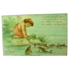 Vintage French April Fool's postcard of Girl and fish