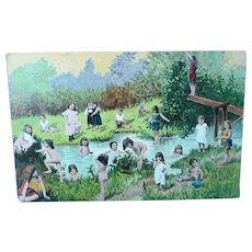 Vintage Multiple Children  Playing in a Stream Postcard