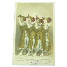 Vintage Real Photo of French Postcard of Four Early 1900's Dance Hall Women