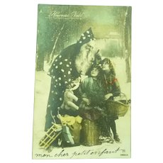 Special Vintage French Postcard of Santa with toys for the Children