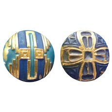 Two Art Deco Painted Brass Vintage Buttons