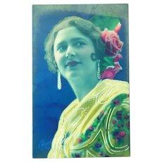 Vintage Art Nouveau Postcard of a Glamorous Lady