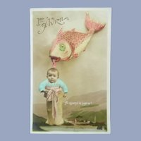 Vintage Surreal Real Photo French Postcard of Fish Catching a Baby