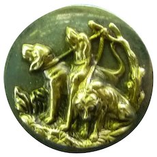 Wonderful large Vintage 1800's Brass Button of Hounds