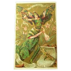 Fabulous Gilded French Advertising Trade Card of Butterfly Lady