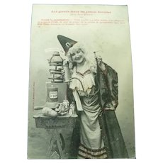 Vintage French Real Photo Postcard of a Witch and her Healing Potions