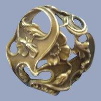 Vintage Art Nouvrea Large Brass Flower Button