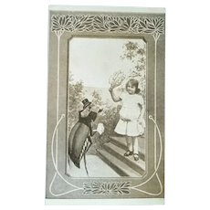 Wonderful Art Nouveau Vintage Real Photo Postcard of Girl and Beatle