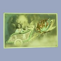 Vintage French Real Photo Postcard of Girl in Her Butterfly Cart