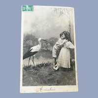 Vintage Children and Stork Real Photo French Postcard