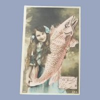 Vintage New Years Real Photo Surreal French Postcard of Girl and Fish