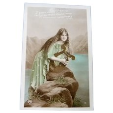 Vintage Real Photo French Postcard of a Serene