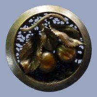 "Large 1 1/2"" Metal Vintage Victorian Fruit Button"