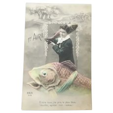 Vintage April Fools Real Photo French Postcard of a boy and his fish
