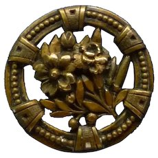 "Wonderful Vintage Late Victorian 1 1/2"" Brass Flower Button"