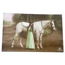 Vintage French Real Photo Postcard of a Edwardian Lady and her Prize Horse