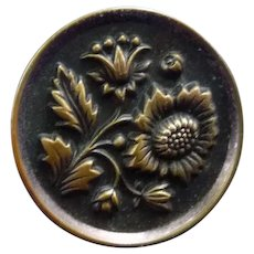 Fabulous Vintage Large Sunflower Brass Button