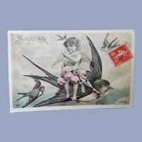 Cute Vintage Surreal Real Photo French Postcard of Child Angel on Bird's Back