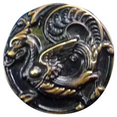 "Fabulous Large 1 1/2"" Victorian Button of a Griffin"