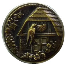 Fabulous Rare Large Brass Victorian Button of Bird Feeding Her Young