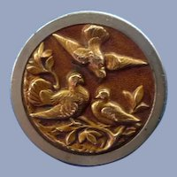 Victorian Large Metal Button of Three Birds