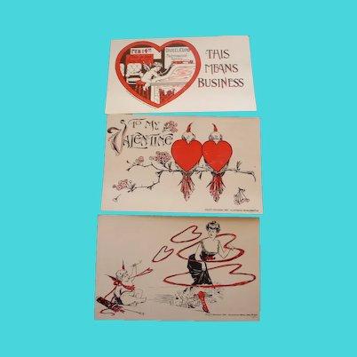 Three Vintage Valentine Postcards