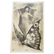 Vintage Real Photo Postcard of Lady Flying on a Butterfly