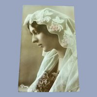 Lovely Vintage Real Photo French Postcard of A Devout Lady