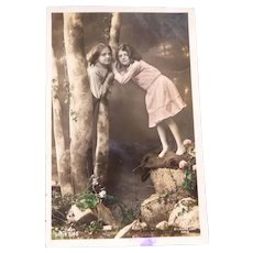 Vintage Real Photo Postcard of Girls in the Woods