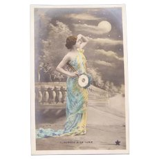 Lovely Real Photo French Postcard of a lady Starring at the Moon