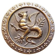 Large Vintage Victorian Metal Gryphon Button