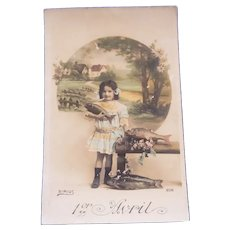 Vintage Real Photo French April Fool's Day Postcard of Girl and Fish