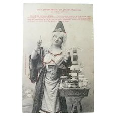Vinage Real Photo French Postcard of Halloween Witch Brewing Potions