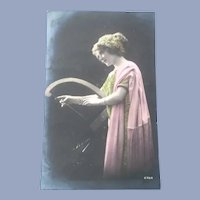 Vintage French Real Photo Photo Postcard of Lady and Her Harp