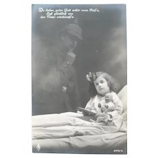 Wonderful Vintage Real Photo Geman Postcard of Girl and Doll and Soldier