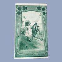 Vintage Real Photo Art Nouveau Beatle and Child Postcard