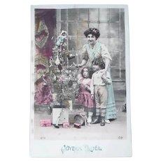 Vintage Real Photo French Christmas Postcard of Family Around Tree
