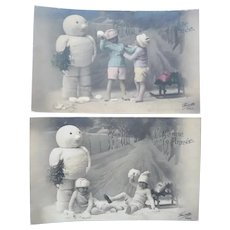 Two Wonderful Vintage French Children and Winter Play Postcards