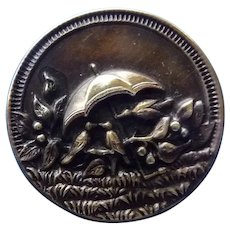 Wonderful Rare Large Victorian Brass Button of Birds Sheltered Under an Umbrella